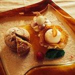 Tortino di castagne alla crema di cachi. By Santoro