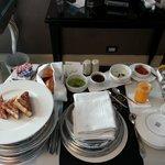 Breakfast spread in the room