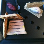 Foie gras terrine with raspberry gelee and raspberry ice cream