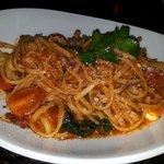 linguine met spinazie, tomaatjes,geitekaas
