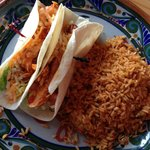 Chicken Adobo Taco's with their Spanish rice