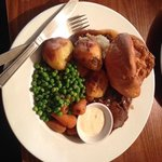 The Sunday roast beef and yorkshire pudding, roast potatoes, peas, baby carrots, mash and gravy!
