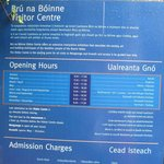 Bru na Boinne Opening Hours sign near entrance