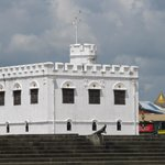 British fort on river shore