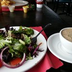 Side salad and a cup of she crab soup. Was so good and filling.