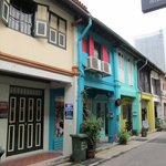 Arab quarters street with coloful houses