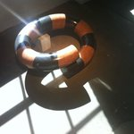 Downstairs, a large coiled sculpture