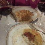 Pumpkin gnocchi and mushroom lasagne at Locanda