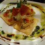 ravioli with salmon and cheese filling