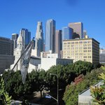 View of downtown LA from rooftop garden