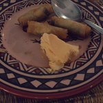 One missing (opps) Chocolate mini spring rolls and orange icecream.