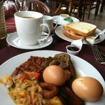 Breakfast buffet..love the plantain and salty fish sauce