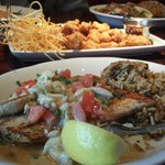 Alligator appetizer & Mahi with crab meat