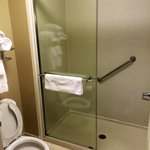 Large Tile Shower with Glass Doors