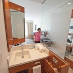Sink, mirror, and coffe/bar - notice the swivel mirror