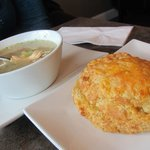 Chicken barley soup and cheddar scone