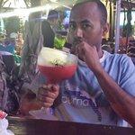 22 oz strawberry margarita. ...YUMMY with a souvenir cup