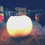 Our candle lit drinks on bean bags on the sandy beach which is right beside the hotel! Was bliss