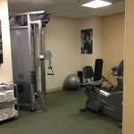Workout area - had to move the bike to use the equipment
