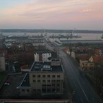 View of port, Curonian Spit and the sea from 13th floor