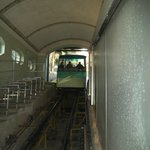 The funicular train arriving.