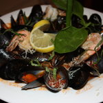 Our Frutti de mare..mussels, clabs, shrimp,& scallops in a red wine marinara, yummy