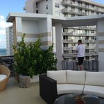 The roof top pool area