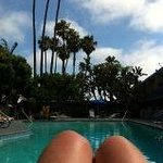 Relaxing by the pool at the Travel Lodge