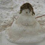 Snow man sand sculpture