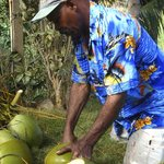 Seacat--his real name--opening a coconut