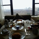 Breakfast room service and our view of Central Park.