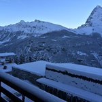 View from balcony: Eiger on right, station below, Wengen far left.