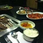 Spicy Pork, Marinated Chicken and Marinated Beef