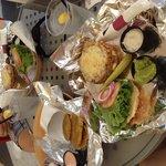 Southwest veggie burger and tostones