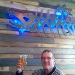 Enjoying an IPA at Salmon River Brewery
