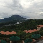 Panoramic shot of Arenal volcano from the open-air lobby.