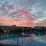 Eveening sunset at the pool