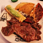 Combination plate with carne asada