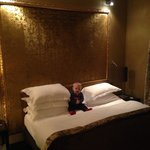 Our bed and our little lad!