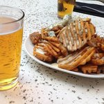 waffle fries & pilsners at Henery's Tavern, Portland OR