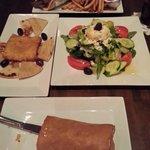 Gyro on pita (top), Greek salad entree for one (right), fried feta appetizer (left), spanakopita