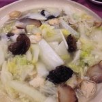 clay pot soup with blsck wood ear, napa cabbage, and shrimps