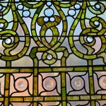 detail of glass window of Roehm House