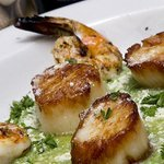 Pan Seared Sea Scallops with Grilled Shrimp over a Purée of Broccoli and dusted with parmesan ch