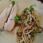 Roasted chicken breast, porcini cream, trofie, pancetta & truffle