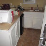 Kitchenette in each suite, includes coffee maker, frig, sink