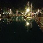 the pool with Christmas lights