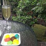 Deck out back obi obi creek with bubbles and yummy treats.  Spoilt a lot