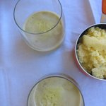the juice and the scrambled egg