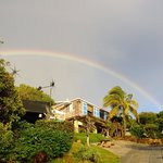 Rainbow over the resort, just after sunrise